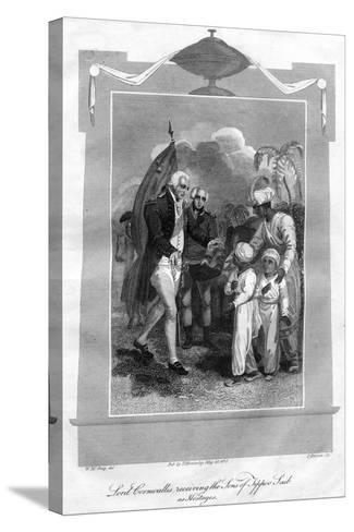 Lord Cornwallis (1738-180) Receiving the Sons of Tippoo Saib as Hostages, 1816-I Brown-Stretched Canvas Print
