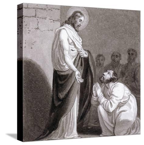 Christ and St Thomas, C1810-C1844-Henry Corbould-Stretched Canvas Print