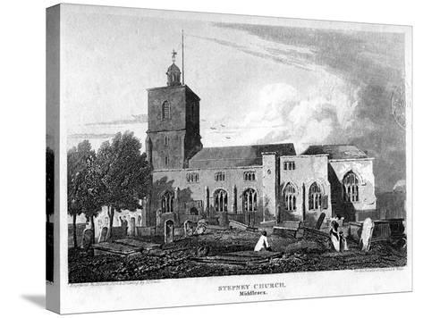 Stepney Church, London, 1815- Hobson-Stretched Canvas Print