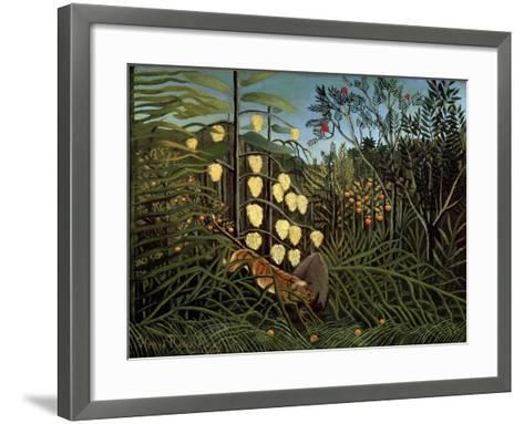 In a Tropical Forest. Struggle Between Tiger and Bull, 1908-1909-Henri Rousseau-Framed Art Print
