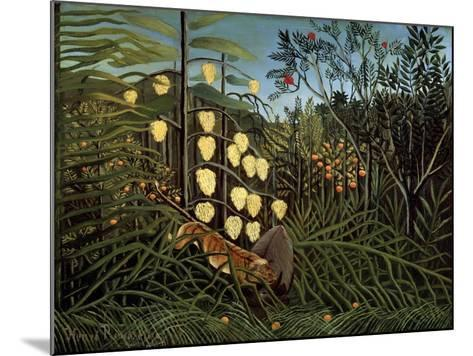 In a Tropical Forest. Struggle Between Tiger and Bull, 1908-1909-Henri Rousseau-Mounted Giclee Print