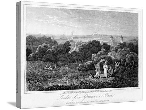 London from Greenwich Park, 1816-I Varrall-Stretched Canvas Print