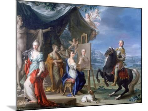 Equestrian Portrait of a Nobleman.. as Protector of the Arts, C1699-1748-Ignaz Stern-Mounted Giclee Print