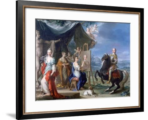 Equestrian Portrait of a Nobleman.. as Protector of the Arts, C1699-1748-Ignaz Stern-Framed Art Print