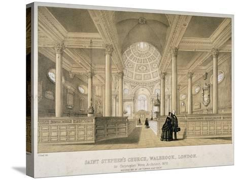 Interior View Looking East, Church of St Stephen Walbrook, City of London, 1851-J Graf-Stretched Canvas Print