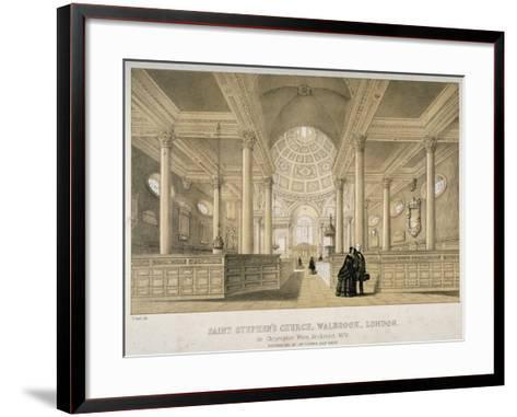 Interior View Looking East, Church of St Stephen Walbrook, City of London, 1851-J Graf-Framed Art Print