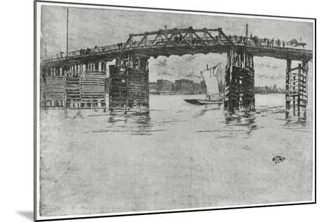 Battersea Bridge, London, 19th Century-James Abbott McNeill Whistler-Mounted Giclee Print