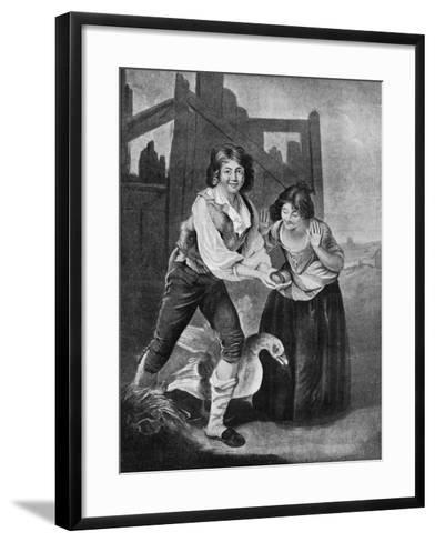 The Boy Discovering the Golden Eggs, 19th Century-J Young-Framed Art Print