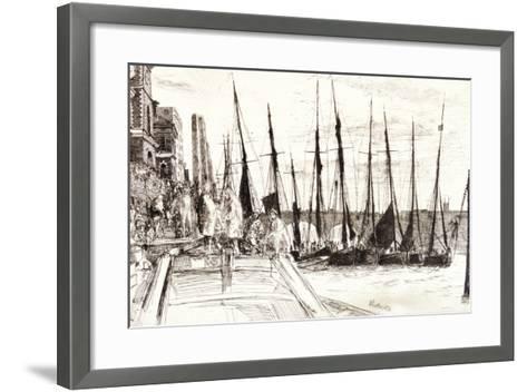 Boats Alongside Billingsgate, London, 1859-James Abbott McNeill Whistler-Framed Art Print
