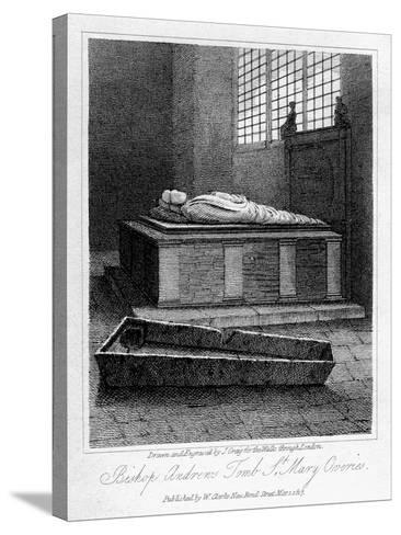 Bishop Andrew's Tomb, St Mary Overie's Church, Southwark, London, 1817-J Greig-Stretched Canvas Print