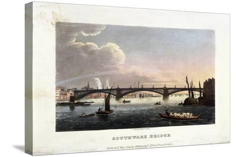 Southwark Bridge, London, 1819-J Shury-Stretched Canvas Print