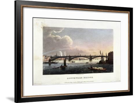 Southwark Bridge, London, 1819-J Shury-Framed Art Print