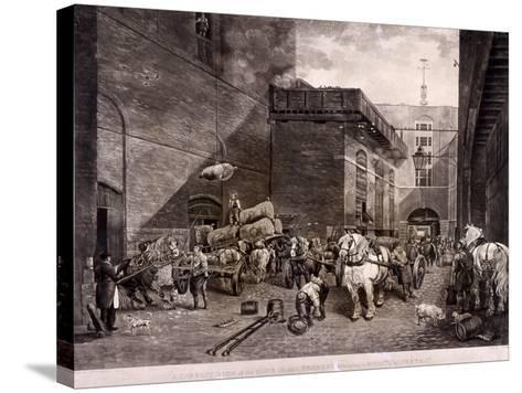 The Hour Glass Brewery on Upper Thames Street, London, 1821-J Bromley-Stretched Canvas Print