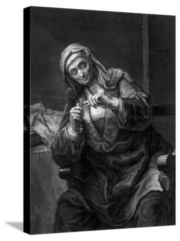 Old Woman Cutting Her Nails, 18th or 19th Century-J Haid-Stretched Canvas Print