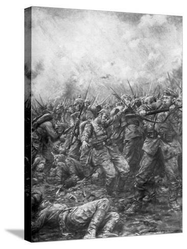 German Soldiers under Fire from Allied Guns, Flanders, World War I, 1914-J Simont-Stretched Canvas Print
