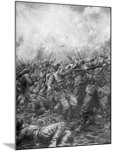 German Soldiers under Fire from Allied Guns, Flanders, World War I, 1914-J Simont-Mounted Giclee Print