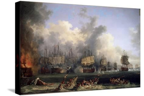 The Sinking of the Russian Battleship St. Evstafius in the Naval Battle of Chesma, 1771-Jacob Philipp Hackert-Stretched Canvas Print