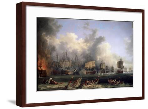 The Sinking of the Russian Battleship St. Evstafius in the Naval Battle of Chesma, 1771-Jacob Philipp Hackert-Framed Art Print
