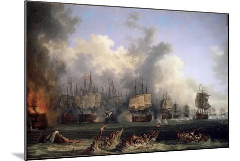The Sinking of the Russian Battleship St. Evstafius in the Naval Battle of Chesma, 1771-Jacob Philipp Hackert-Mounted Giclee Print