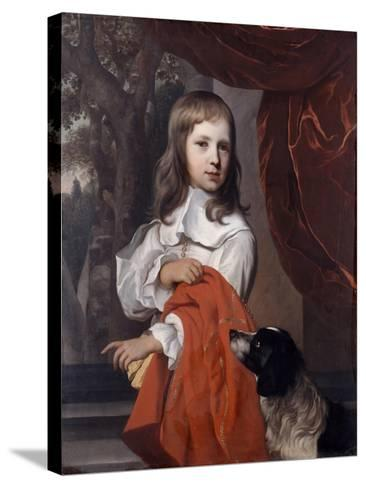 Portrait of a Young Boy with a Dog, 1658-Jacob van Loo-Stretched Canvas Print