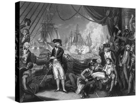 Scene on the Deck of the Queen Charlotte, 1 June 1794-J Rogers-Stretched Canvas Print