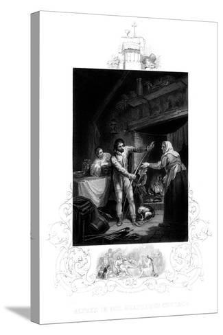 Alfred the Great in the Neatherd's Cottage, 9th Century Ad-J Rogers-Stretched Canvas Print