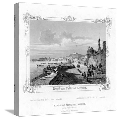 Naples from the Carmine Castle, Italy, 19th Century-J Poppel-Stretched Canvas Print