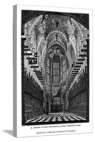 Interior of Henry VII Chapel, Westminster Abbey, 1843-J Jackson-Stretched Canvas Print