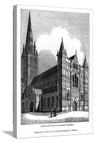 North West View of Salisbury Cathedral, 1843-J Jackson-Stretched Canvas Print