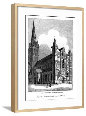 North West View of Salisbury Cathedral, 1843-J Jackson-Framed Art Print