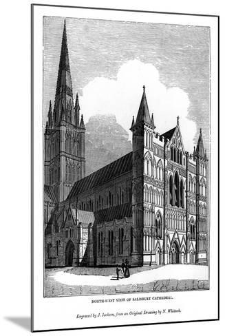 North West View of Salisbury Cathedral, 1843-J Jackson-Mounted Giclee Print