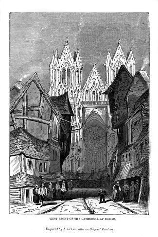 West Front of the Cathedral at Rheims, 1843-J Jackson-Stretched Canvas Print
