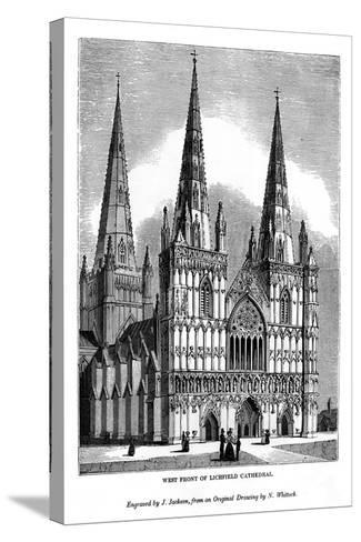 West Front of Lichfield Cathedral, 1843-J Jackson-Stretched Canvas Print