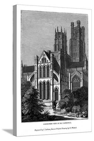 North West View of Ely Cathedral, 1843-J Jackson-Stretched Canvas Print