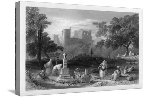 A Turkish Burial Ground at Sidon, Lebanon, 1841-J Redaway-Stretched Canvas Print
