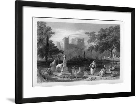 A Turkish Burial Ground at Sidon, Lebanon, 1841-J Redaway-Framed Art Print