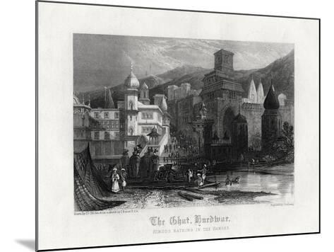 The Ghat, Hurdwar, Hindus Bathing in the Ganges, 19th Century-J Redaway-Mounted Giclee Print