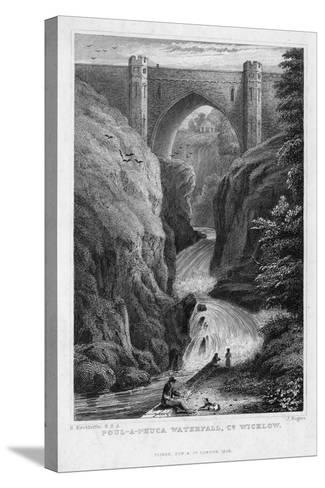 Poul a Phuca Waterfall, County Wicklow, 1829-J Rogers-Stretched Canvas Print
