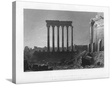 Pillars of the Great Temple at Balbec, 1841-J Sands-Stretched Canvas Print