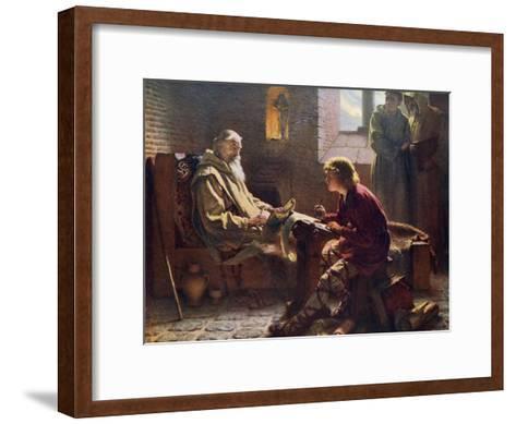 The Venerable Bede Translating the Last Chapter of St John, 1926-James Doyle Penrose-Framed Art Print