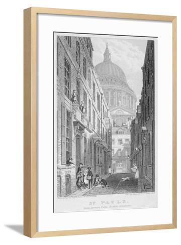 View of St Paul's Cathedral from Sermon Lane, City of London, 1823-James Sargant Storer-Framed Art Print