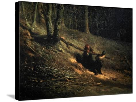 Peasant-Girls with Brushwood (Les Charbonniere), C1852-Jean Francois Millet-Stretched Canvas Print