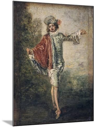 The Indifferent One, 1717-Jean-Antoine Watteau-Mounted Giclee Print