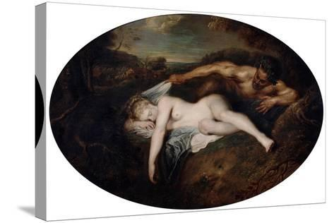 Nymph and Satyr, C1715-Jean-Antoine Watteau-Stretched Canvas Print