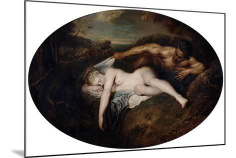 Nymph and Satyr, C1715-Jean-Antoine Watteau-Mounted Giclee Print