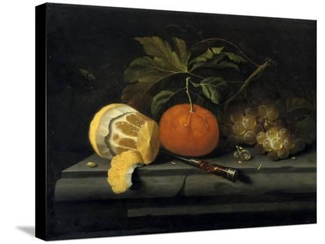 Fruits on a Table Setting of Stone, C1653-1659-Johannes Borman-Stretched Canvas Print