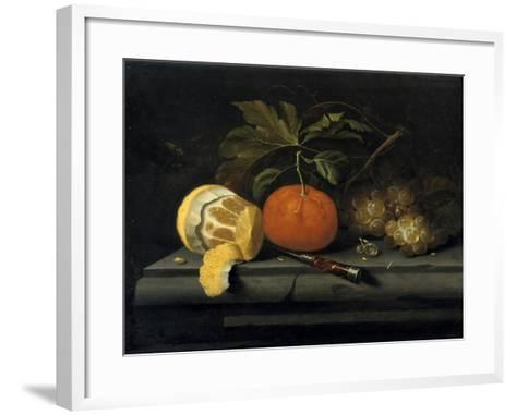 Fruits on a Table Setting of Stone, C1653-1659-Johannes Borman-Framed Art Print