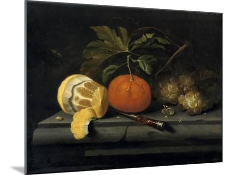 Fruits on a Table Setting of Stone, C1653-1659-Johannes Borman-Mounted Giclee Print