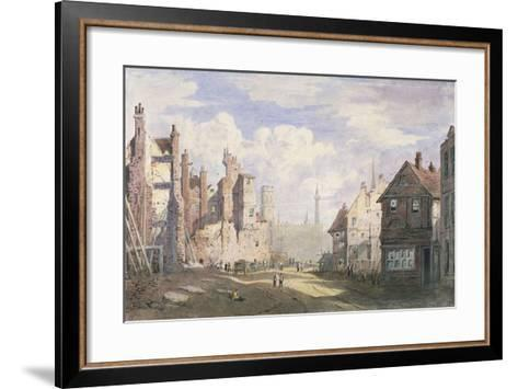 Demolition of Old Houses Near Walbrook to Make Way for King William Street, City of London, 1834-James Fahey-Framed Art Print