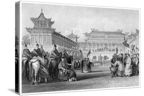 The Emperor Teaou-Kwang Reviewing His Guards, Palace of Peking, China, 19th Century-JB Allen-Stretched Canvas Print